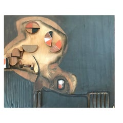 Cool Gray Mixed Media Wood Painting