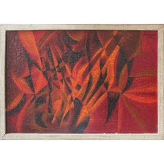 Red, Orange, and Black Paris Abstract Painting
