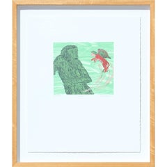 """Surprise"" Abstract Animal Lithograph"
