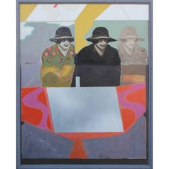 Early 1966 Large Scale Painting of Two Women