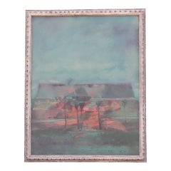"""Terraced Landscape"", Abstract, Pastel Colored Landscape Painting"