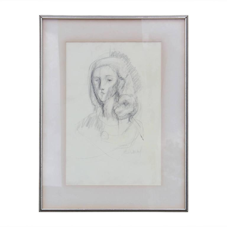 Abstract Sketch of Mother and Child