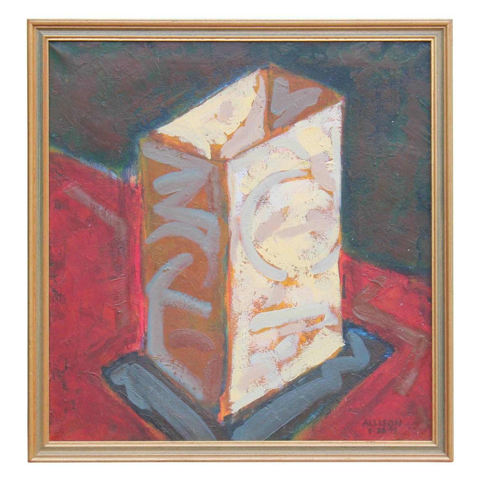 """Fiesta Box"" Impressionist Red toned Still Life Signed Allison"