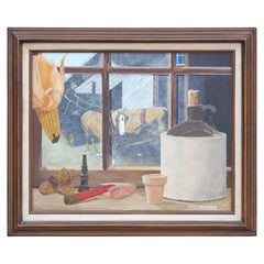 Still Life Painting of a Country Window Cill and Horses