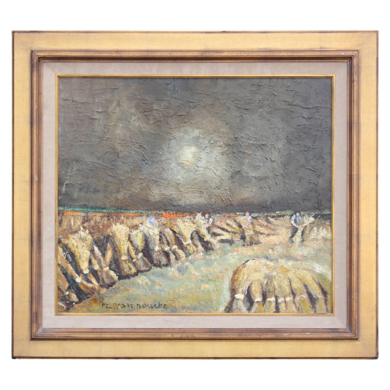 Impressionist Impasto Painting of Women Harvesting Wheat