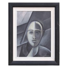 """Portrait of a Man"" Grey Cubist Portrait"