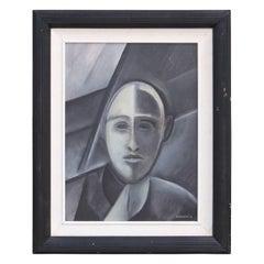 """""""Portrait of a Man"""" Grey Cubist Portrait"""