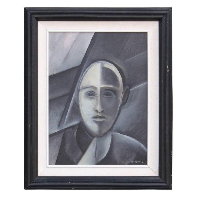 """Norman Baasch Figurative Painting - """"Portrait of a Man"""" Grey Cubist Portrait"""