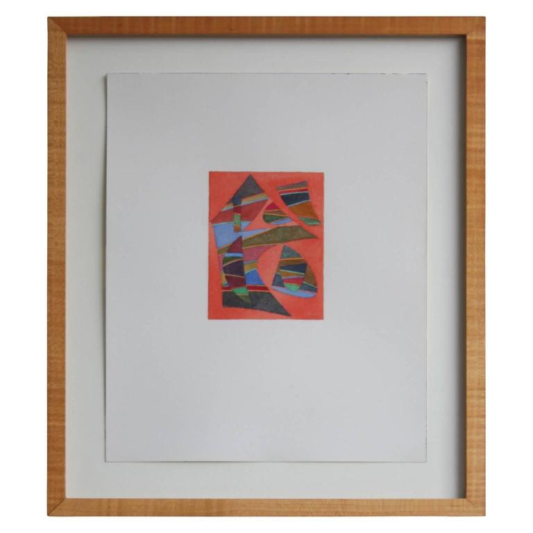 Geometric Orange Abstract on Paper