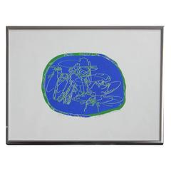 Untitled (Blue and Green Abstract Print)