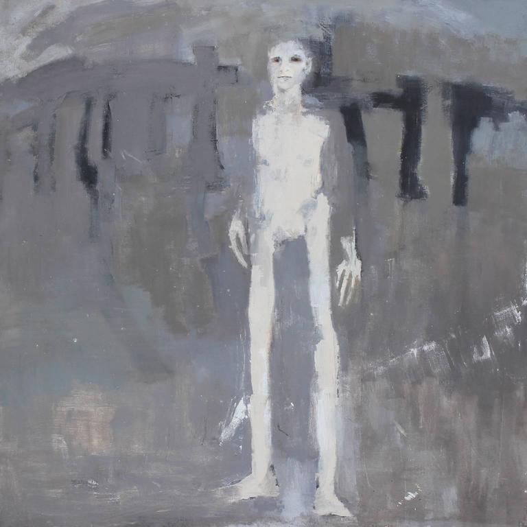 Patricia Hernandez Abstract Painting - Grey Abstract with Tall Man