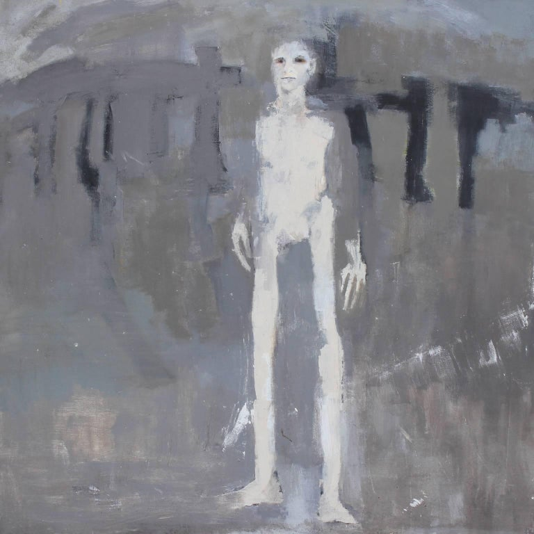 Patricia Hernandez - Grey Abstract with Tall Man 1