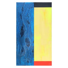 Contemporary Minimal Blue and Yellow Abstract Painting