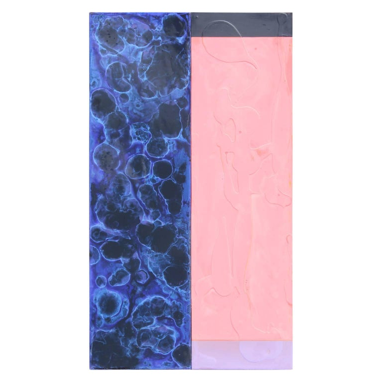 Minimal Contemporary Pink and Blue Abstract Painting - Mixed Media Art by Michael Hollis