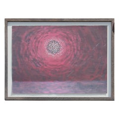 Red Sunset Abstract, Pointillist Painting