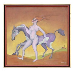 1950 Surreal Oil Painting of a Nude Woman and Horse