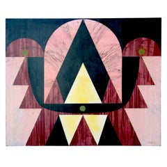 Large Pink Geometric Painting