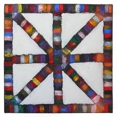 """Cross Tracks 7"" Geometric Color Wheel Painting"