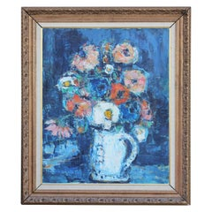 Impressionist Flowers in Vase Still Life with Blue Hues