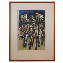 """Autumn"" Cubist Style Woodblock Print Edition 10/100"