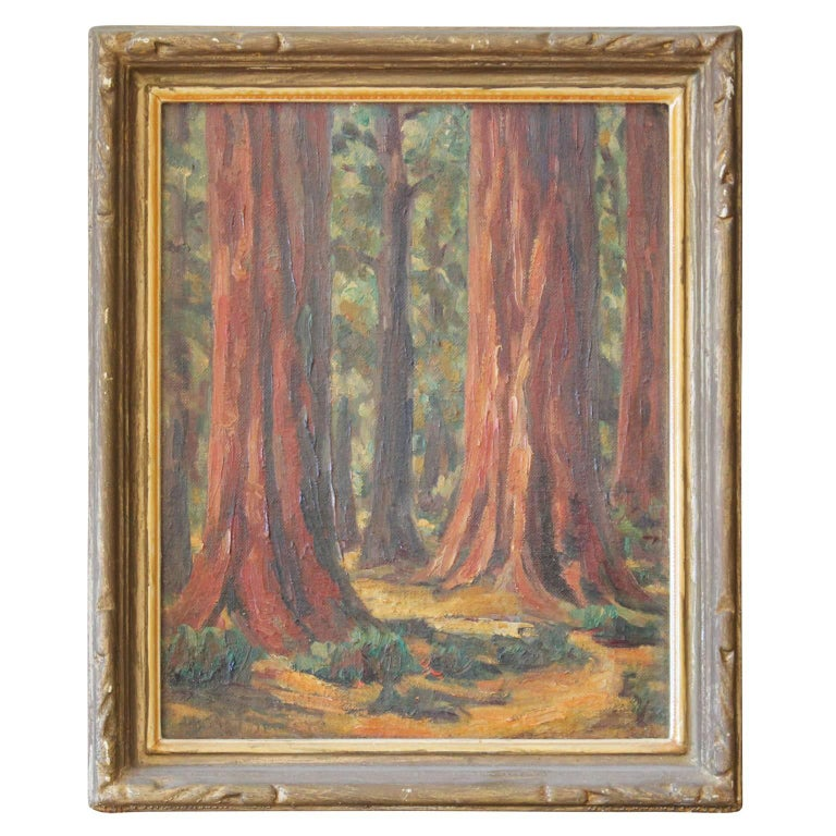 Early California Redwood Trees 'Desert Mountain' Landscape Painting