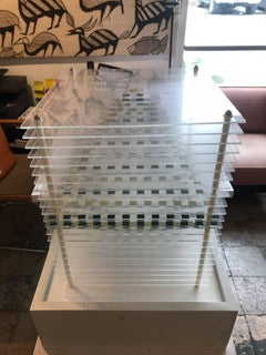 Geometric Plexiglass Sculpture w/ Pedestal Display Base