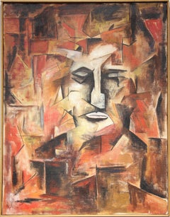 Red, White and Black Cubist Portrait