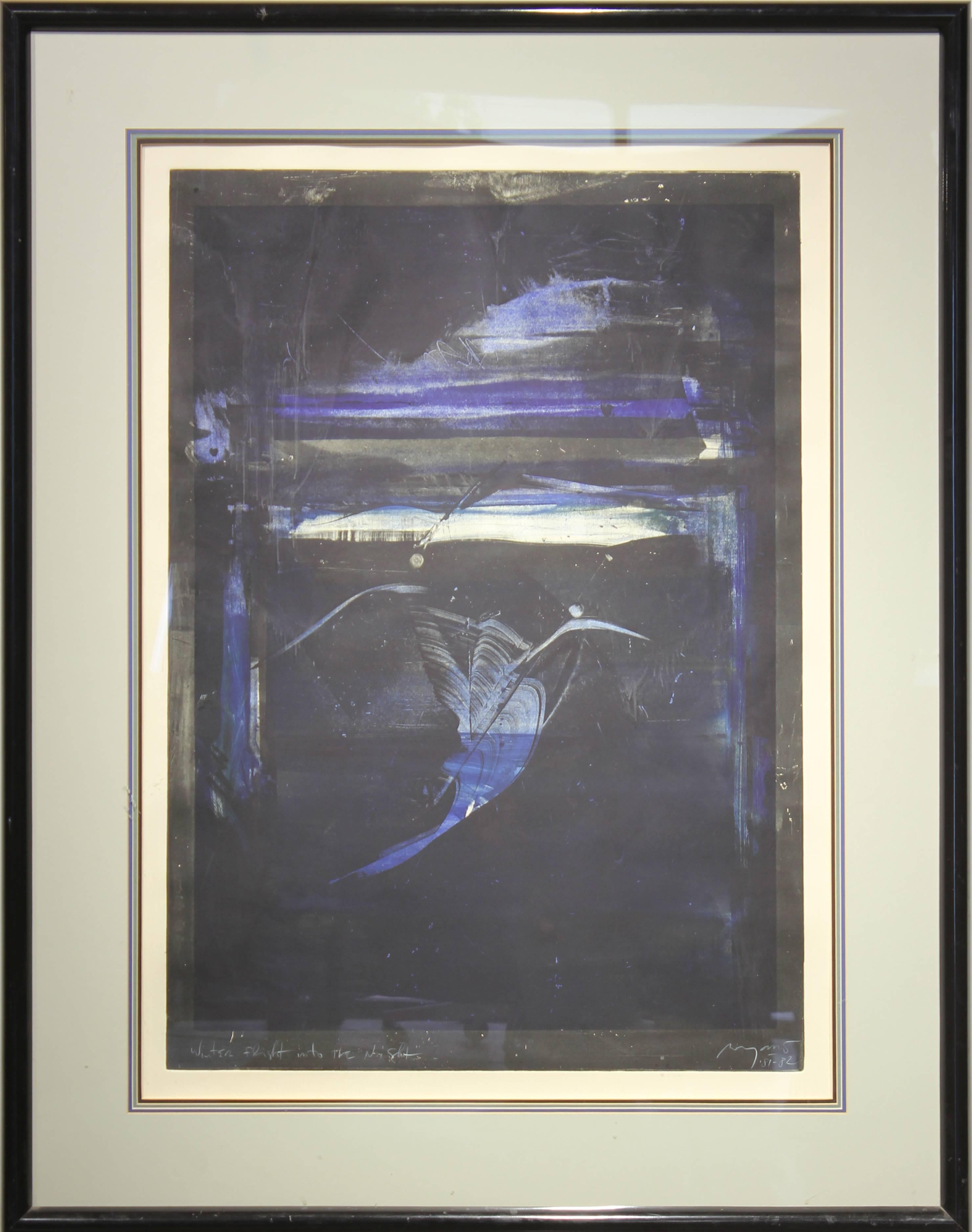"""""""Winter Flight into the Night"""" Abstract Monotype"""
