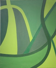 Green Gestural Abstract Painting