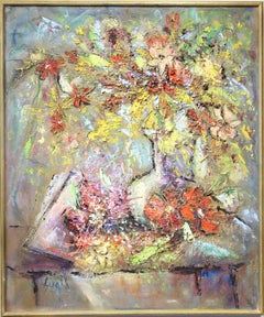 Abstract Expressionist Painting of a Flower