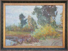 Impressionist Landscape of Trees and a Pond