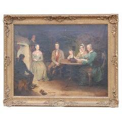 19th Century Oil on Canvas Tavern Scene