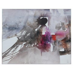 Lovely Red, Purple, and Charcoal Abstract Painting