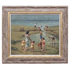 Impressionist Family Beach Scene