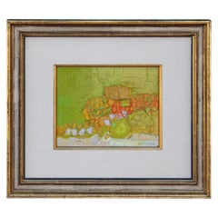 Lovely Green, Orange and Yellow Abstract Painting