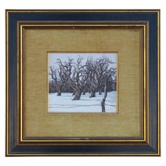 Impressionist Snowy Winter Landscape Painting