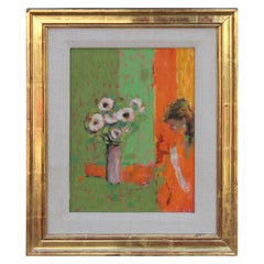 Impressionist Still Life Painting of Woman and Flowers