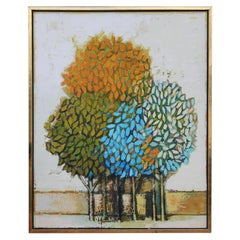 Abstract Blue, Yellow and Gold Trees in a Gold Frame