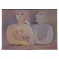 Pink Purple Neutral Abstract of Two Figures and a Dove
