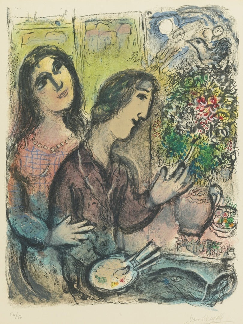 Marc chagall la femme du peintre print for sale at 1stdibs for Chagall peintre