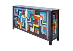 Two Door Gee's Bend Housetop Quilt Cupboard - Steel Furniture, Buffet Sideboard