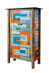 2 Door Fractured Housetop Quilt Cupboard - Steel Studio Furniture