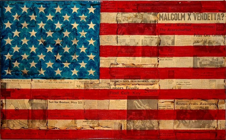 Patrick Burns Black and White Photograph - Malcolm X Vendetta - American Flag Painting over Vintage Newsprint Photo Collage