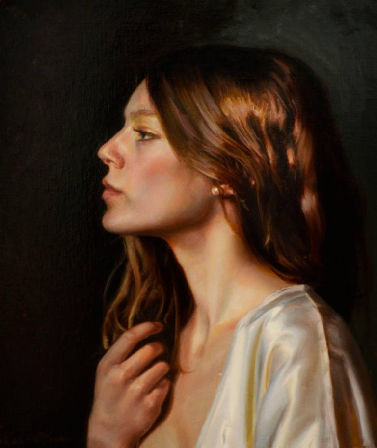 Caleb O'Connor Portrait Painting - Untitled Portrait of a Female with Long Auburn Hair and a Silk Robe Oil on Panel