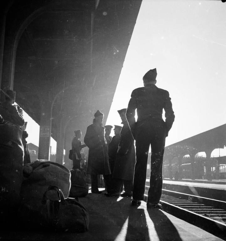 Art Shay Black and White Photograph - Tracks to War, New Jersey, 1943