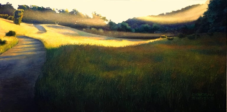 The Lifting Veil - Original Oil on Canvas Painting of Mist Hovering Over a Field 1