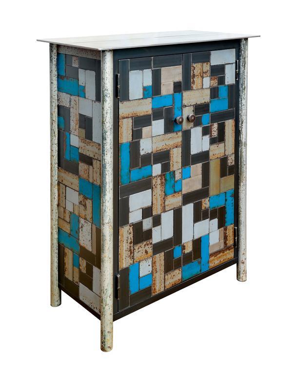 Jim Rose - Two Door Gee's Bend Housetop Quilt Cupboard - Steel ... : quilt cupboard - Adamdwight.com
