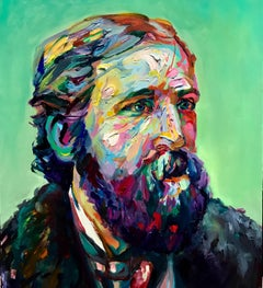 Umblecumstumble, Multi-Colored Bearded Male Portrait, Oil on Panel