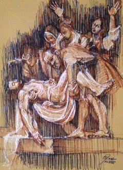 After The Deposition by Caravaggio, Colored Pen Drawing, Signed