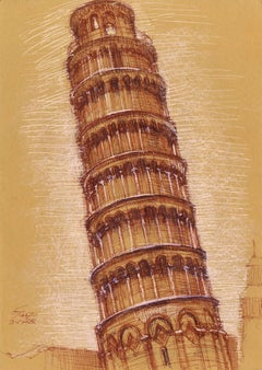 The Belltower of Piza, a Pleine Aire Study in Pen and Chalk, Matted and Framed